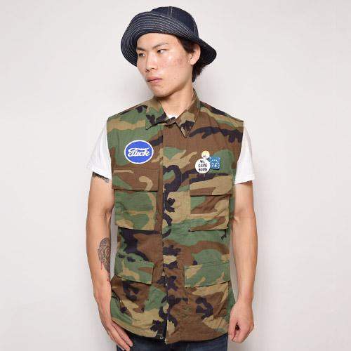 ・US Military×US/Cut Off 4Pocket BDU Shirt Vest(USミリタリー×アス カットオフベスト)ウッドランドカモ/サイズS/S [u-9322]