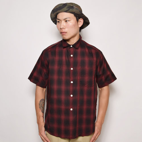 Towncraft×US/S/S Ombre Check Wide Shirt(タウンクラフト ワイドオンブレチェックシャツ)レッド×ブラック [a-1033]