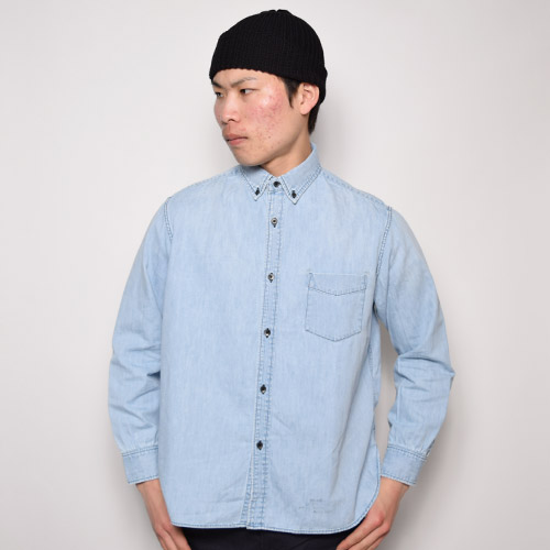 Towncraft/B.D. Wide Vintage Denim Shirts(タウンクラフト ワイドボタンダウンシャツ)ブリーチインディゴ [a-1416]