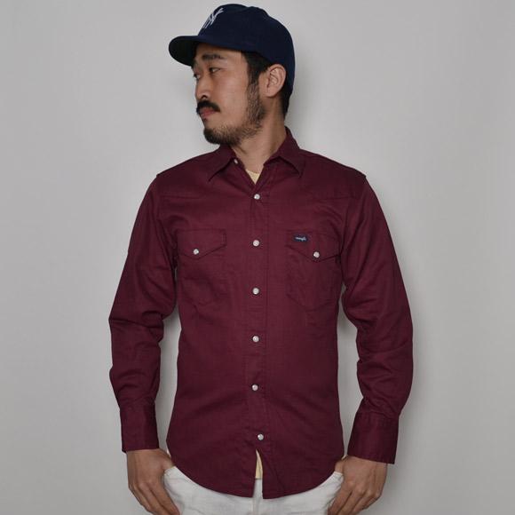 Wrangler/Skinny Fit Cotton Twill Western Shirt(ラングラー ウエスタンシャツ)バーガンディー [n-7927]