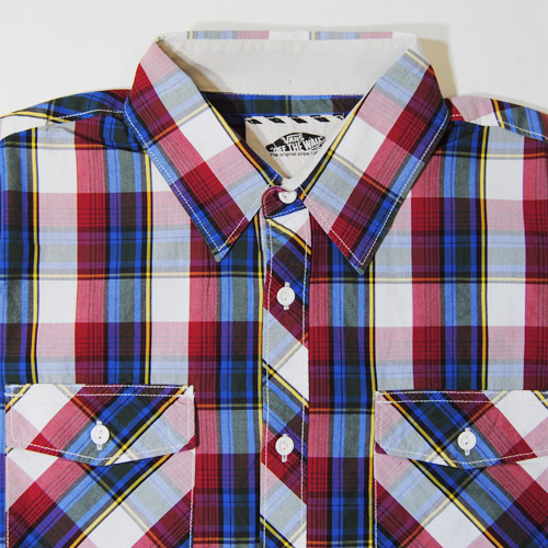 Vans/Farer S/S Shirt(バンズ チェックシャツ)レッド×ブルー [n-5538]