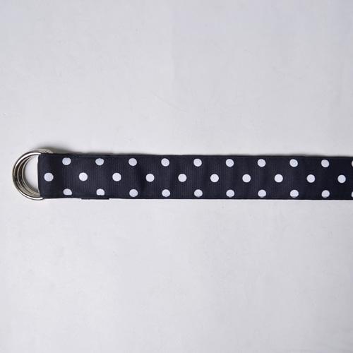 Barrons Hunter/D-Ring Ribbon Belt(バロンズハンター ダブルリングリボンベルト)ネイビー×ホワイトドット [n-8110]