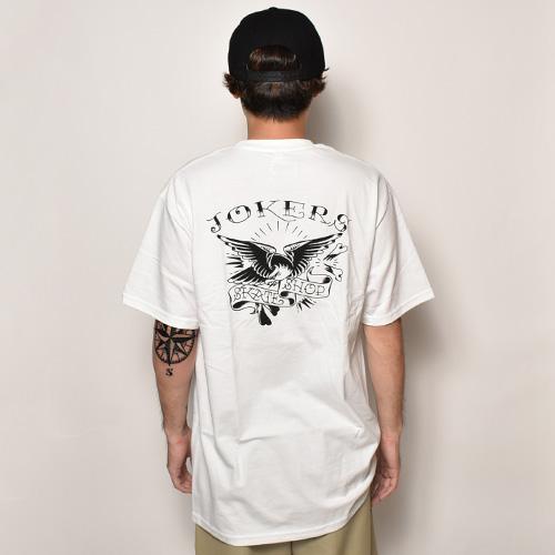 Joker's Skate Shop/Eagle Tattoo Logo T-Shirt(ジョーカーズスケートショップ Tシャツ)ホワイト [a-3834]