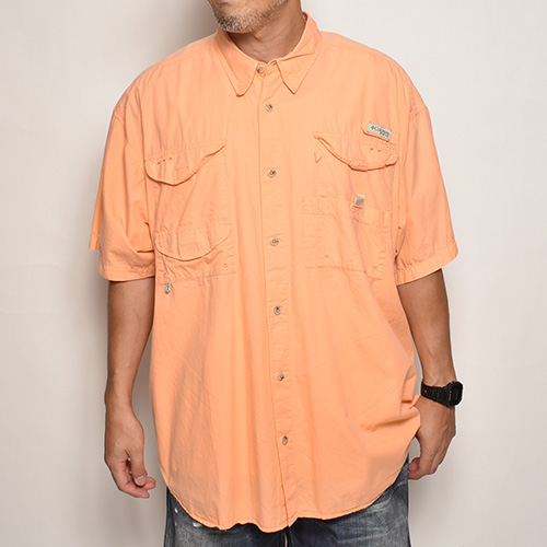 ・Columbia Sportswear/S/S PFG Fishing Shirt(コロンビア フィッシングシャツ)オレンジ/サイズXL [z-5560]
