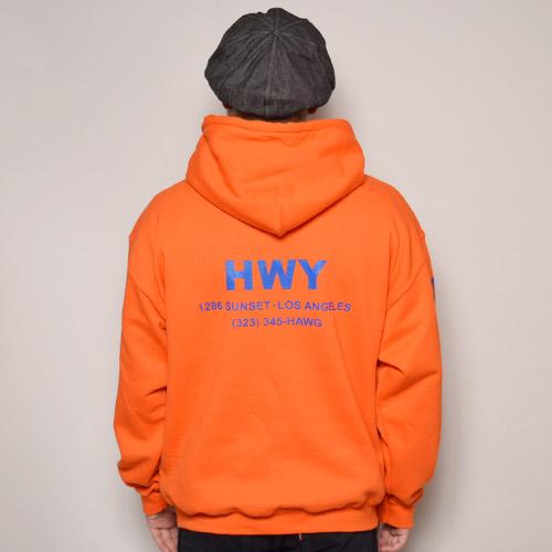 HWY×US/Cal Trans Hoodie(エイチダブリューワイ×アス スウェットパーカー)オレンジ [a-2874]