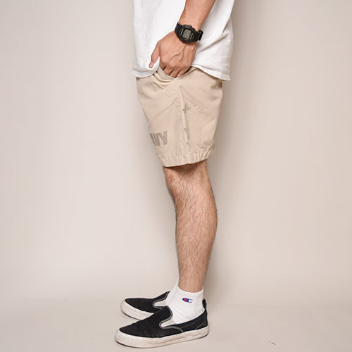 Reflective NAVY Logo Nylon Baggy Shorts(リフレクターネイビーロゴショートパンツ)ベージュ [a-3230]
