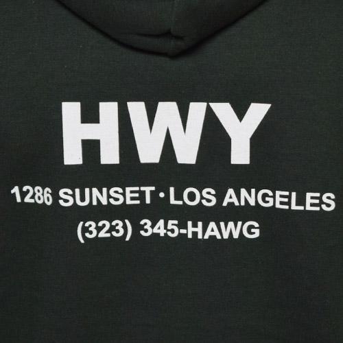 HWY×US/Cal Trans Hoodie(エイチダブリューワイ×アス スウェットパーカー)ダークグリーン [a-2875]