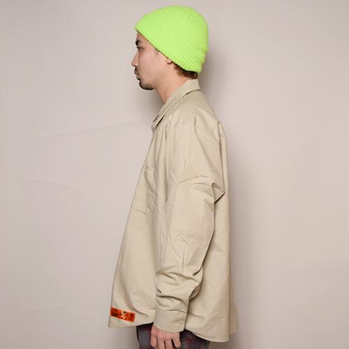 Red Kap×US/L/S Wide Silhouette Work Shirt(レッドキャップ×アス ワイドシルエットシャツ)ベージュ [a-3443]