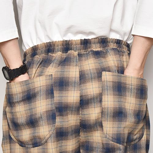 Checked Flannel Easy Pants(フランネルチェックイージパンツ)ベージュ×ネイビー [a-4787]
