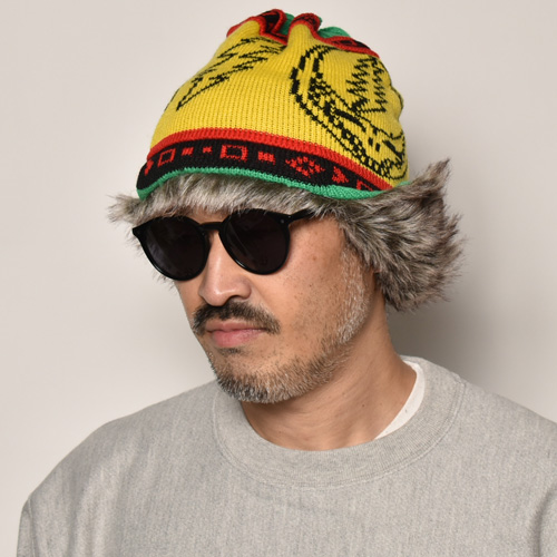 Grateful Dead/Official Flap Knit Caps(グレイトフルデッド ニットキャップ)イエロー×ライトグリーン [a-4612]