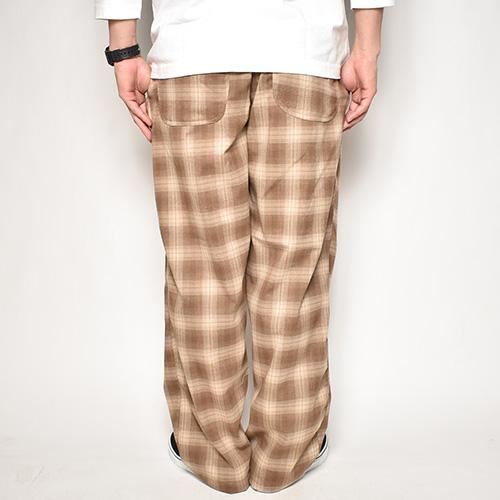 Checked Flannel Easy Pants(フランネルチェックイージパンツ)ベージュ×ブラウン [a-4789]