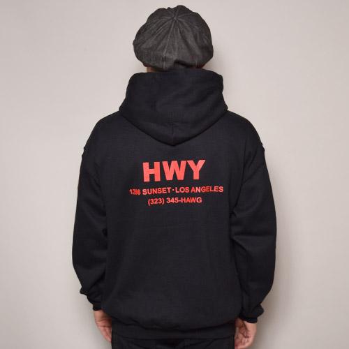 HWY×US/Cal Trans Hoodie(エイチダブリューワイ×アス スウェットパーカー)ブラック [a-2878]
