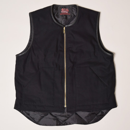 415 Clothing/Leather Trimmed Canvas Vest(415クロージング ベスト)ブラック [a-2537]