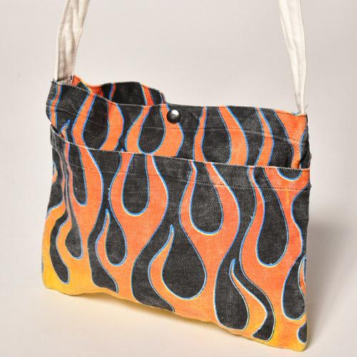 Flames Sacoche Bag(フレームス サコッシュバッグ)ブラック×イエロー/レッド [a-3688]