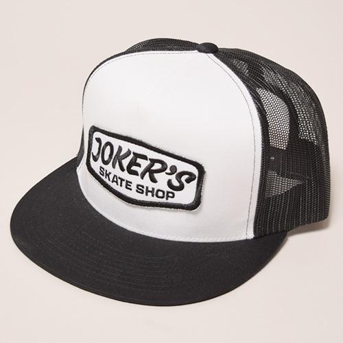 Joker's Skate Shop/Classic Logo Mesh Cap(ジョーカーズスケートショップ キャップ)ホワイト×ブラック [a-3470]