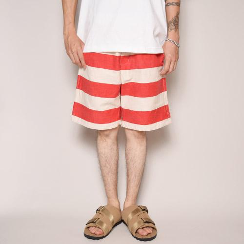 Stripes Patterned Elastic Waist 8inch Shorts/Dead Stock(ボーダーイージーショーツ)レッド×ホワイト [a-2511]