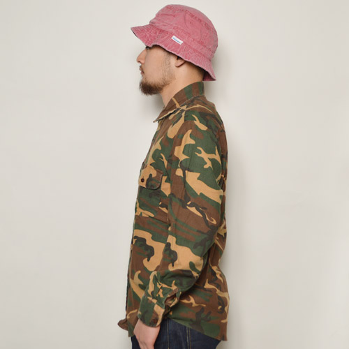 ・Vintage Camo Flannel Shirts(ヴィンテージ カモフランネルシャツ)ウッドランドカモ/サイズM [u-8547]