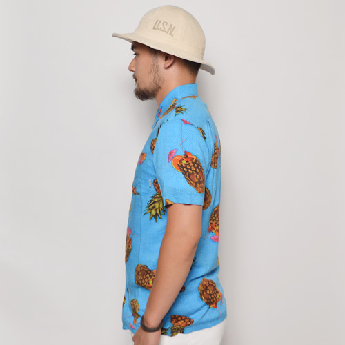 Vans/Vista Aloha Shirt(バンズ アロハシャツ)ブルー×オレンジ [a-0295]