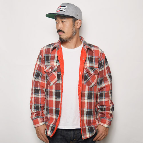 Five Brother×US/Red Quilt Lined Heavy Flannel Shirt(ファイブブラザー×アス キルティングネルシャツ)レッド×グレー [a-0445]