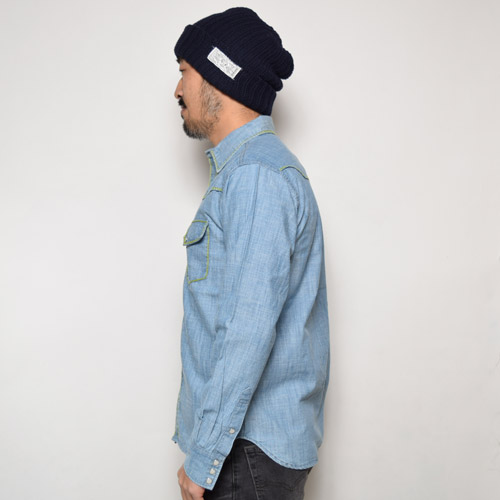 Five Brother×US/Californian Stitched Western Chambray Shirts(ファイブブラザー×アス ウエスタンシャンブレーシャツ)ブルー×ライトグリーン [a-0642]