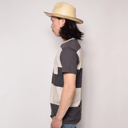 Vans/Beecher Pocket Border T-shirt(バンズ ボーダーTシャツ)チャコール×ナチュラル [a-0877]