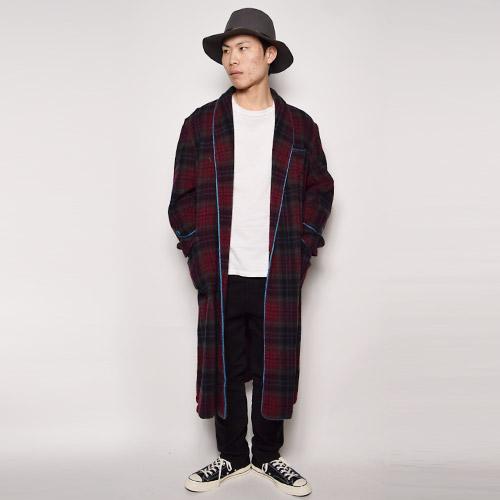 ・Checked Wool Gown Coat(チェックウールガウンコート)バーガンディ×グレー/サイズF [u-9463]