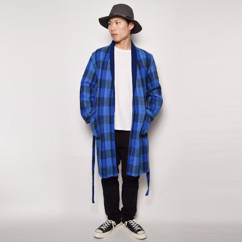 ・Checked Wool Gown Coat(チェックウールガウンコート)ネイビー×ブルー/サイズF [u-9470]