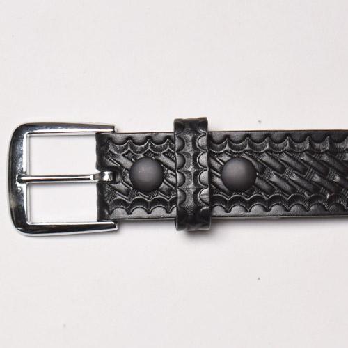 Boston Leather/1 1/2inch Leather Belt(ボストンレザー レザーベルト)ブラックバスケットウィーブ [a-1372]