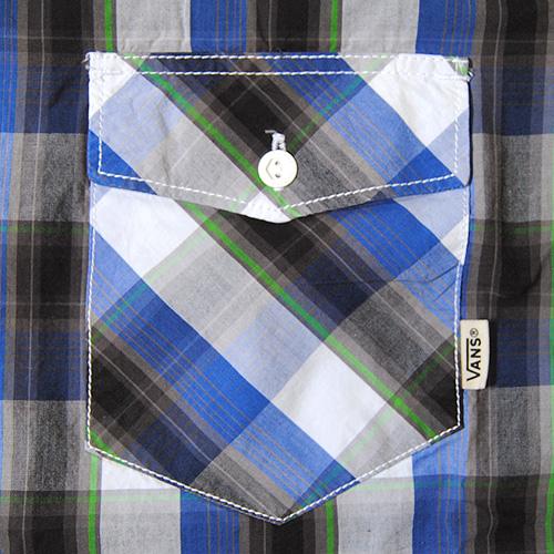 Vans/Farer S/S Shirt(バンズ チェックシャツ)ブルー×ブラック [n-5539]