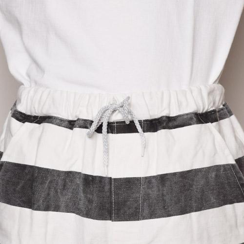 Stripes Patterned Elastic Waist 8inch Shorts/Dead Stock(ボーダーイージーショーツ)ブラック×ホワイト [a-2512]