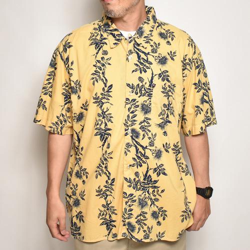 ・Polo Jeans/S/S Patterned Shirt(ポロジーンズ アロハシャツ)マスタード×ネイビー/サイズXL [z-5397]