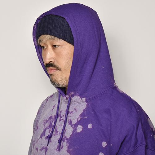 Thrifty Look/Bleached Sweat Hoodie(スリフティルック ブリーチスウェットパーカー)パープル [a-4093]