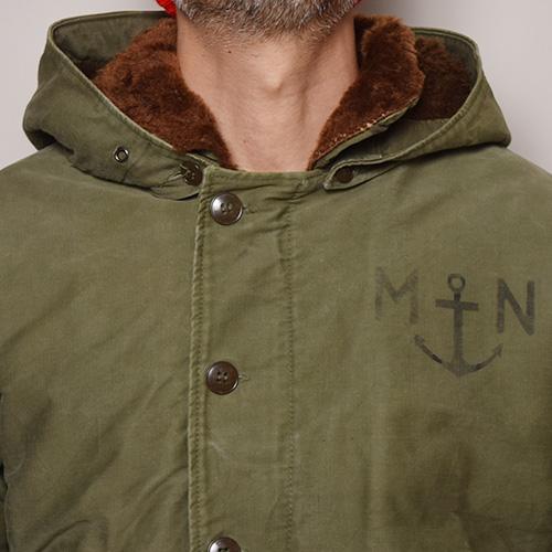・French Navy/Deck Jacket(フレンチネイビー デッキジャケット)オリーブ/身幅63cm [z-1432]