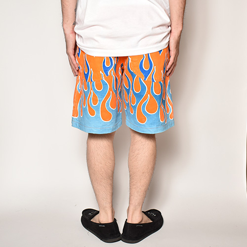 Flames Printed Easy Short Pants(フレームスイージーショートパンツ)オレンジ×ブルー [a-3758]
