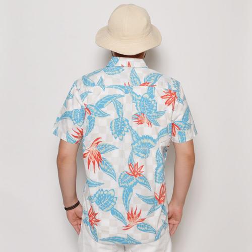 Vans/Maxon Aloha Shirt(バンズ アロハシャツ)ホワイト×グレー×ブルー [a-0292]