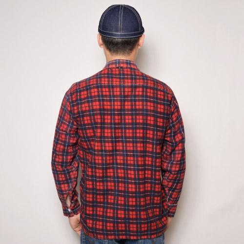 ・Vintage Printed Frannel Shirt(ヴィンテージプリントフランネルシャツ)レッド×ネイビー/サイズL [u-9394]