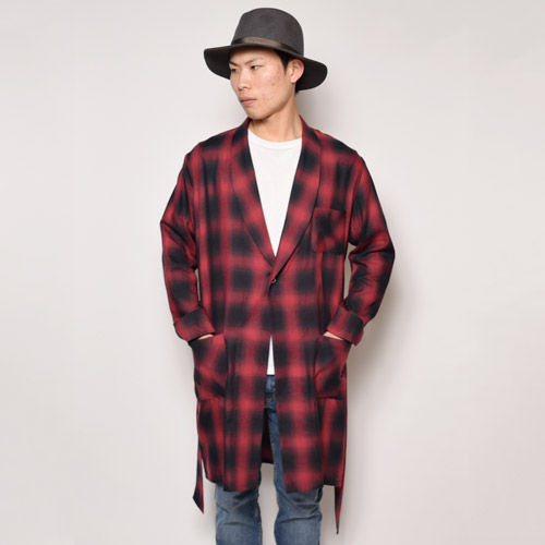 Towncraft×US/Ombre Check Gown(タウンクラフト×アス オンブレチェックガウン)レッド×ブラック [a-1203]
