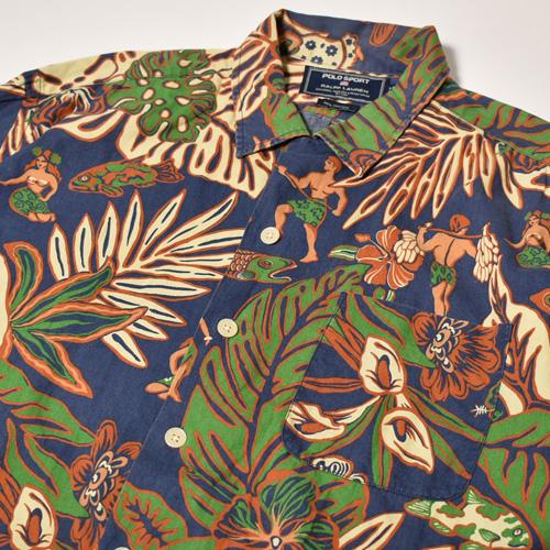 ・Polo Sport/S/S Patterned Shirt(ポロスポーツ アロハシャツ)ネイビー×グリーン×ブラウン/サイズL [z-3923]