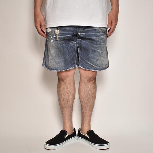 Fake Vintage Denim Easy Shorts(フェイクヴィンテージデニムイージーショートパンツ)インディゴ [a-5125]