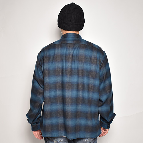 Towncraft×US/Loose Fit Vntage Ombre Check L/S Shirt(タウンクラフト×アス チェックシャツ)ブルー×ブラック [a-5368]