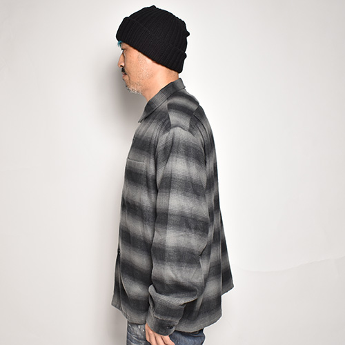 Towncraft×US/Loose Fit Vntage Ombre Check L/S Shirt(タウンクラフト×アス チェックシャツ)グレー×ブラック [a-5369]
