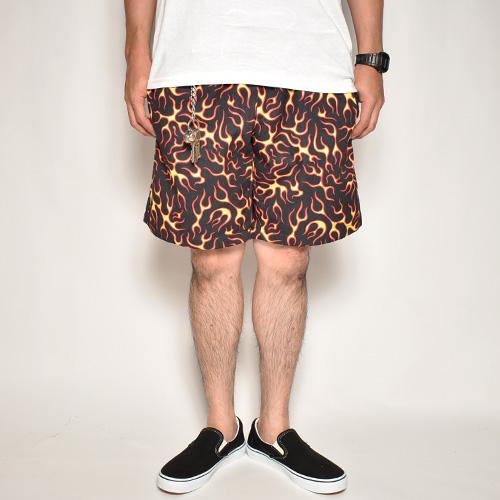 Multi Flames Easy Short Pants(マルチフレームスイージーショーツ)ブラック×レッド/イエロー [a-5066]