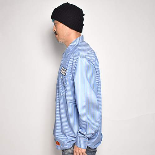 Red Kap×US/49% Mother Patched L/S Loose Work Shirt(レッドキャップ×アス ワークシャツ)ライトブルー×ホワイト [a-5372]