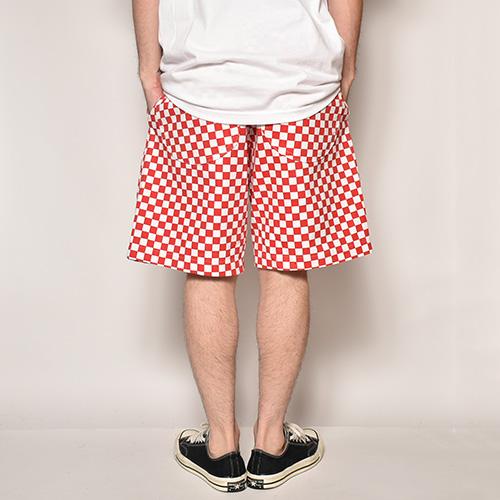Checkerboard Baker Easy Short Pants(チェッカーボードイージーショートパンツ)ホワイト×レッド [a-3769]
