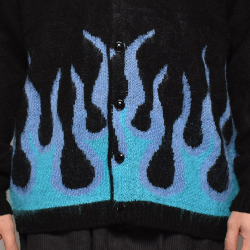 Towncraft×US/Flames Patterned Mohair Knit Cardigan(タウンクラフト×アス モヘアカーディガン)ブラック×パープル/ブルー [a-4060]