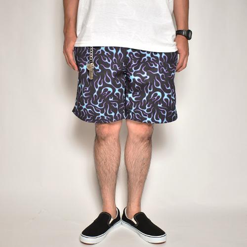 Multi Flames Easy Short Pants(マルチフレームスイージーショーツ)ブラック×パープル/ブルー [a-5067]