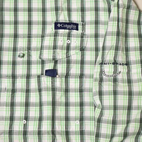 ・Columbia Sportswear/L/S PFG Fishing Shirt(コロンビア フィッシングシャツ)グリーン×ホワイト/サイズS相当 [z-3496]
