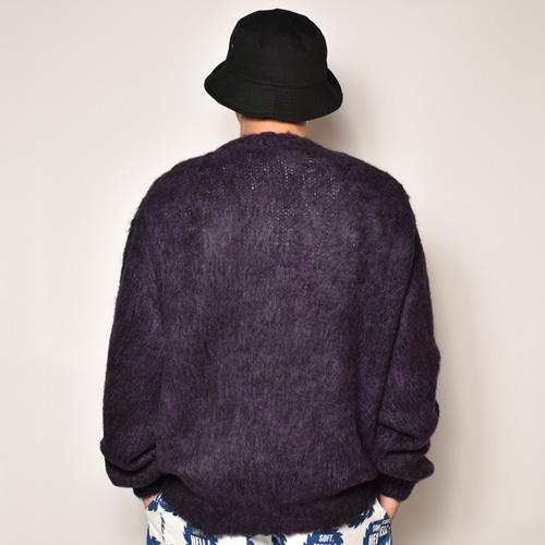 Strange Trip/Mix Mohair Cardigan(ストレンジトリップ モヘアカーディガン)パープル×ブラック [a-4066]