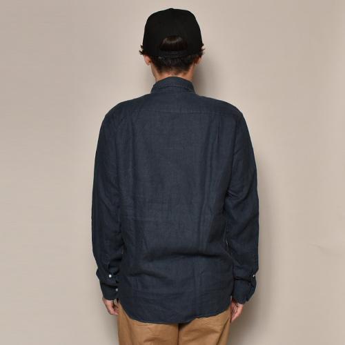 ・J.Crew/L/S Linen Shirt(ジェイクルー リネンシャツ)ネイビー/サイズM [z-3595]