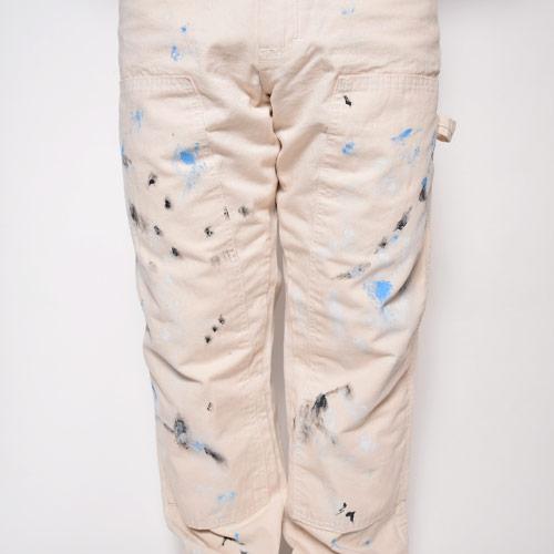 Round House×US/Painted Custom Double Knee Painter Pants(ラウンドハウス×アス ペインターパンツ)オフホワイト [n-9475]